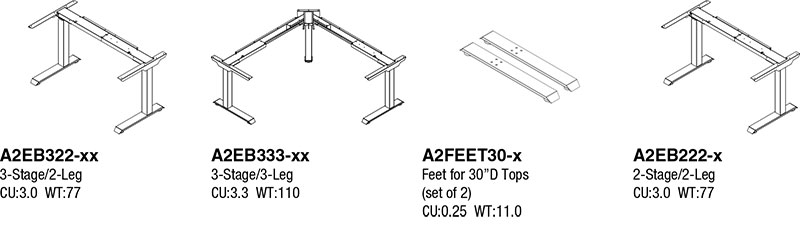 Electric Height Adjustable Office Tables - Bases