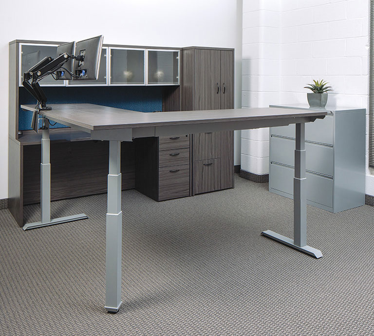 Electric Height Adjustable L-Shaped Office Desks