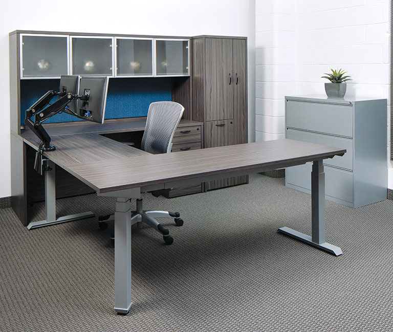 Electric Height Adjustable Office Desks - L-Shaped