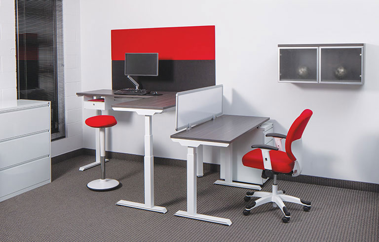 Electric Height Adjustable Office Tables - Red