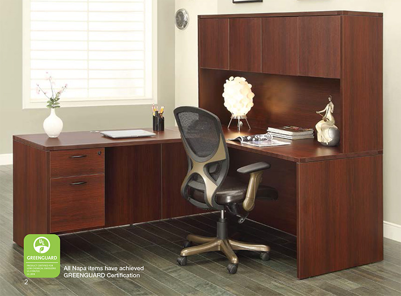 Office Star Napa Collection - L-Shaped Desk with Glass Hutch