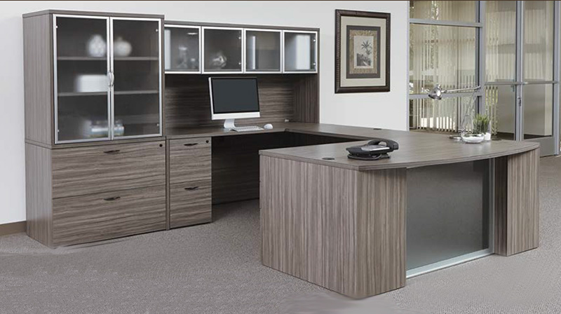 Office Star Napa Collection - U-Shaped Desk with Lateral File