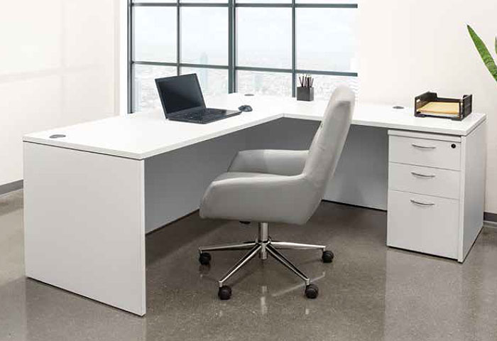 Modern budget office desks - white finish - image 2