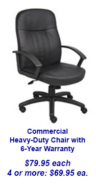 Heavy Duty Black Office Chair with 6-Year Warranty