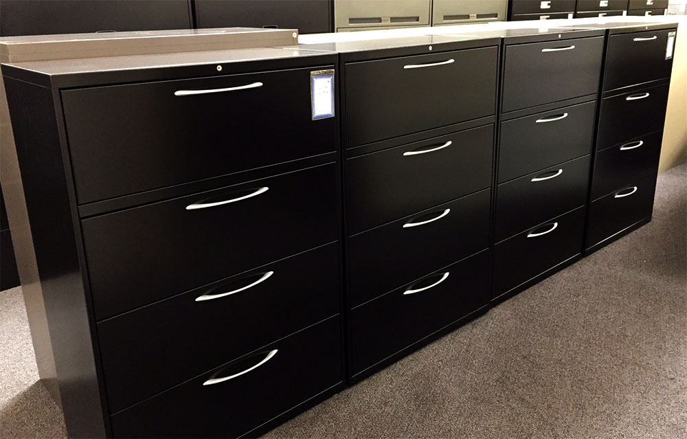 Hon/Allsteel 4 Drawer 36 inch Wide Repainted Black w/Key - used file cabinets