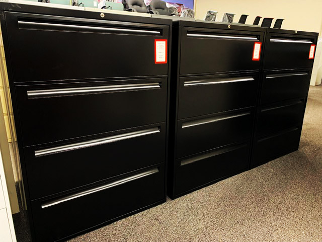 Steelcase 4-drawer 36-inch lateral file with key - black repainted