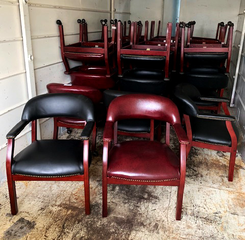 Boss Captains Chair - Black and Oxblood - gently used