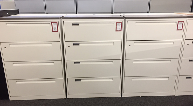 Used steelcase 4-drawer lateral file cabinets